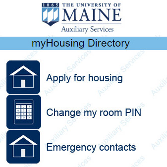 myHousing home screen, featuring options including contacts, application, change my pin, room entry pin, MaineCard pin