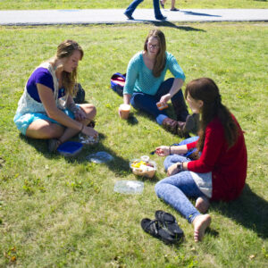 transfer students, dining outside on the University of Maine Mall