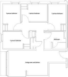 Patch Hall University of Maine sample apartment floor plan