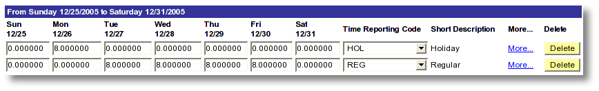 Screen shot example MaineStreet employee time entry for holiday and regular time reporting