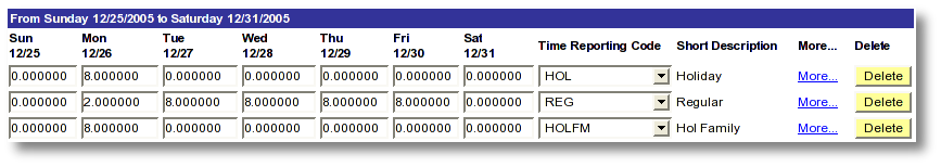 Screen shot example MaineStreet employee time entry for holiday and regular time reporting for a family holiday where compensatory time is not available.