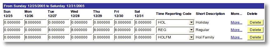Screen shot example MaineStreet employee time entry for holiday worked and regular time reporting