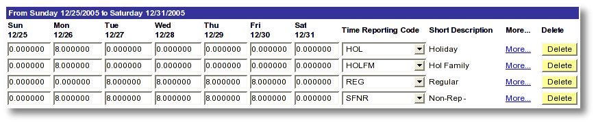 Screen shot example MaineStreet employee time entry for holiday and regular time reporting who work varying shifts