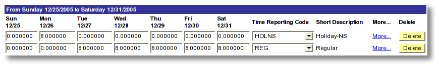 Screen shot example MaineStreet employee time entry for holiday not scheduled and regular time reporting on a