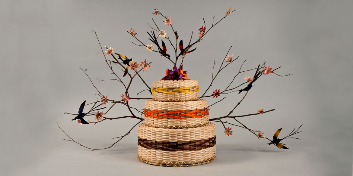 basket with branches and leaves