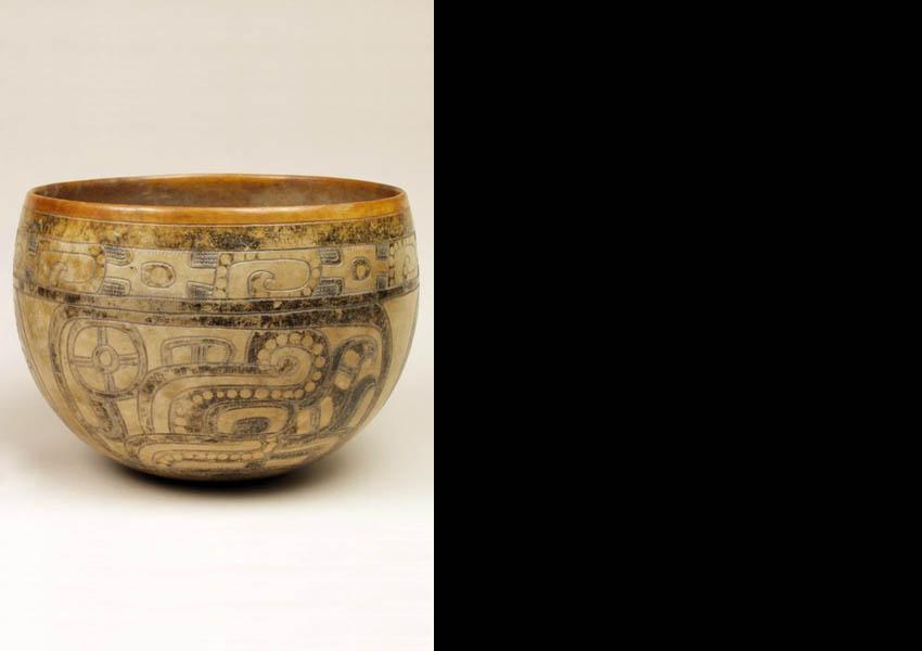 Painted, resist-painted and incised bowl, Classic Kaminaljuyú