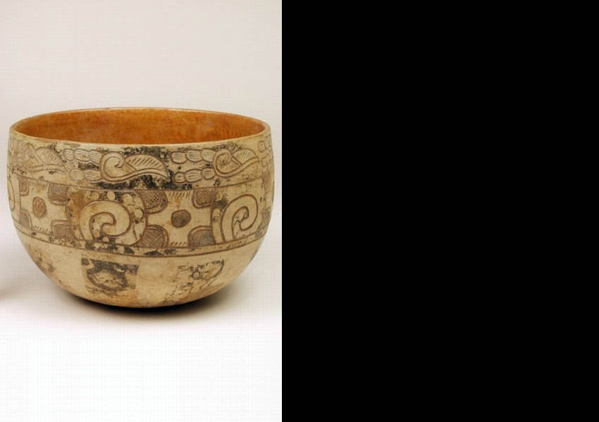 Painted, resist-painted and incised bowl, Classic Nebaj