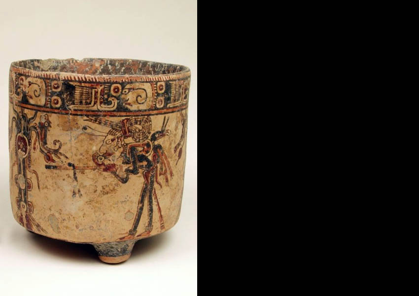 Tenampua class painted cylindrical vase, Late Classic Ulúa Valley