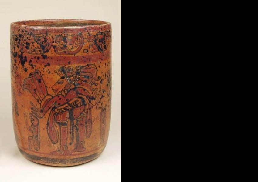Painted cylindrical vase, Late Classic San Augustín Acasaguastlán