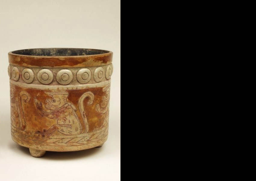 Painted, incised and modeled cylindrical vase, Late Classic Panchoy Valley
