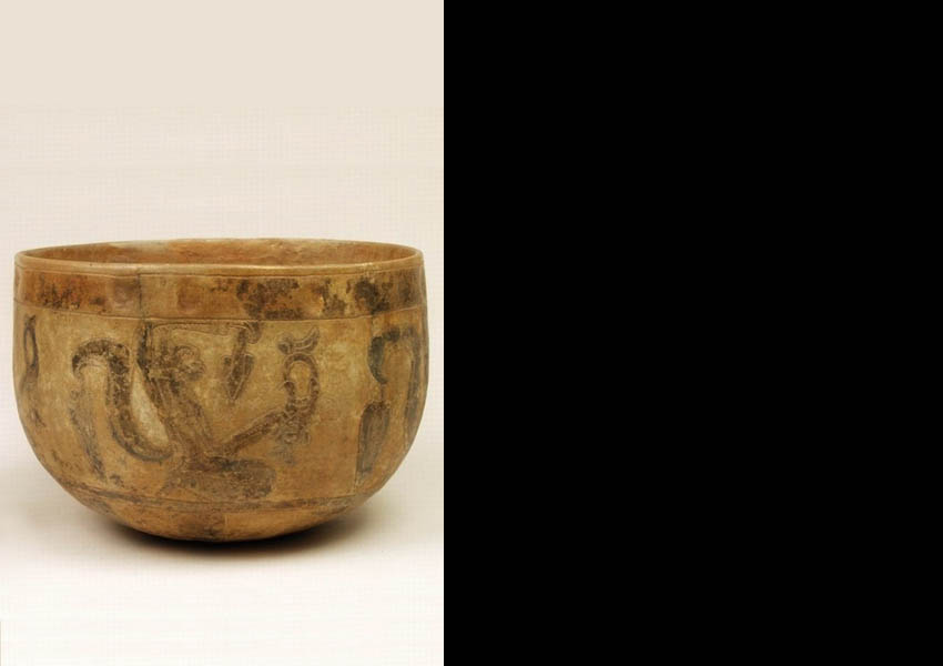 Painted incised bowl, Late Classic Quiché