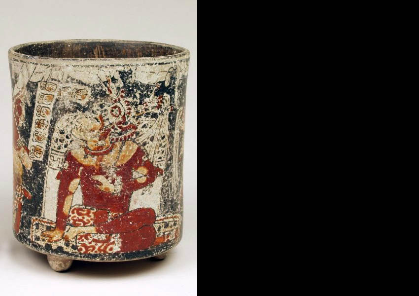 Painted cylindrical vase, Late Classic Jaina