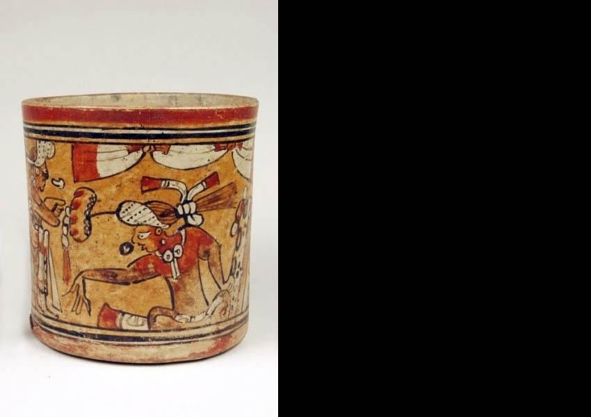 Painted cylindrical vase, Classic Nebaj