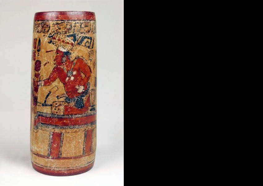 Painted cylindrical vase, Late Classic Mexico-Guatemala border region