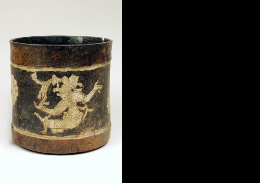 Painted incised cylindrical vase, Classic highland Guatemala