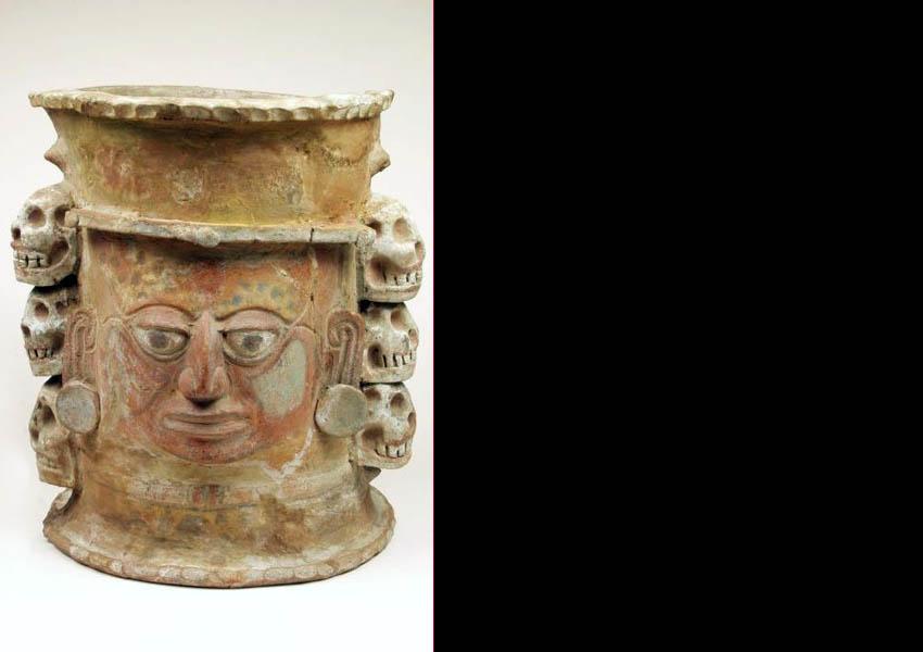 Painted modeled funerary urn,  Classic highland Guatemala