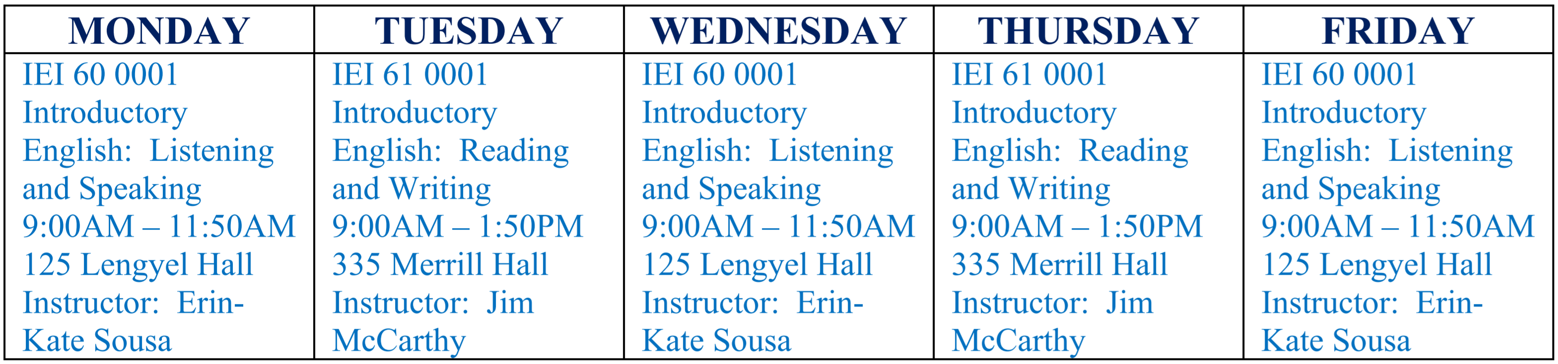 Sample Course Schedule for the IEI Core Intensive English Program