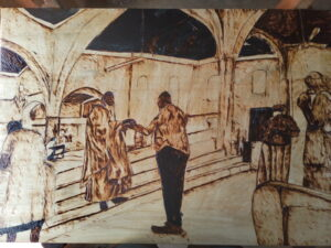 Wood burned image. Four people are in a church. A priest is giving a communion wafer to a church-goer. The priest is wearing a mask covering his nose and mouth.
