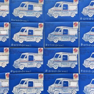 Blue envelope with a print of a usps mail truck on it.