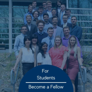 Photo of a group of college students standing on the steps outside of a building in spring time. Photo has a blue tint over it and the words 'For Students Become A Fellow'