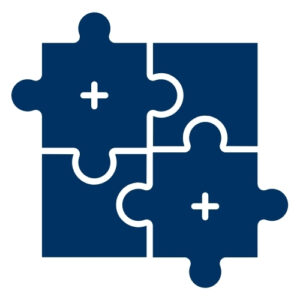 A blue square divided into four sections. Two of the sections are shaped like interlocking puzzle pieces.