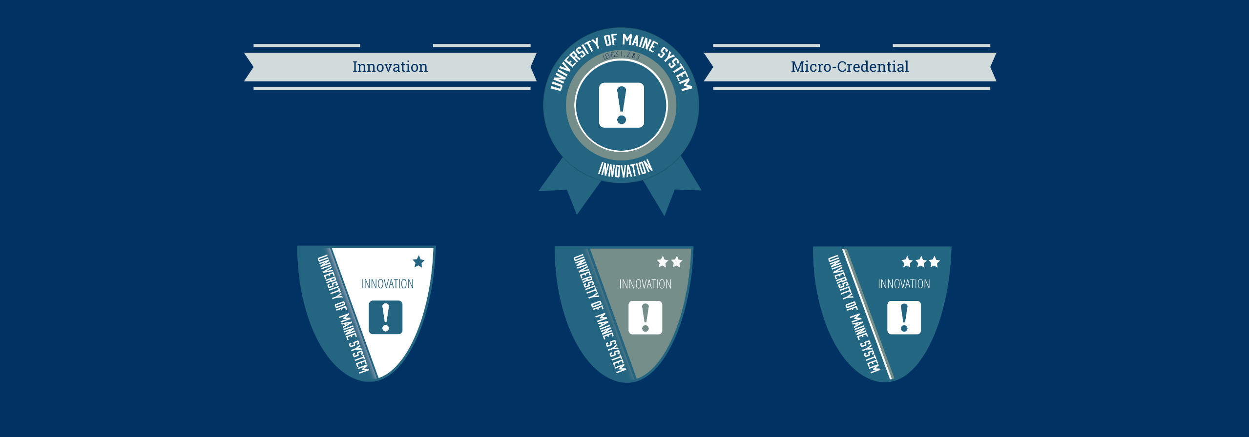 Graphic with four badge icons for innovation and text reading innovation micro-credentials