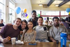 Students enjoy international coffee hour
