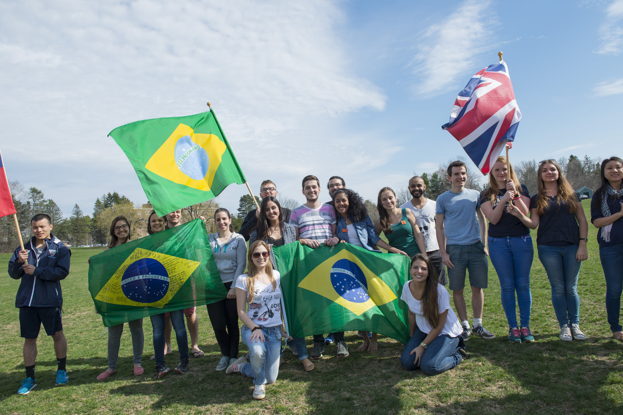 Brazil group with flags