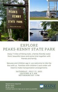 Event flyer for a trip to Peaks Kenny State Park