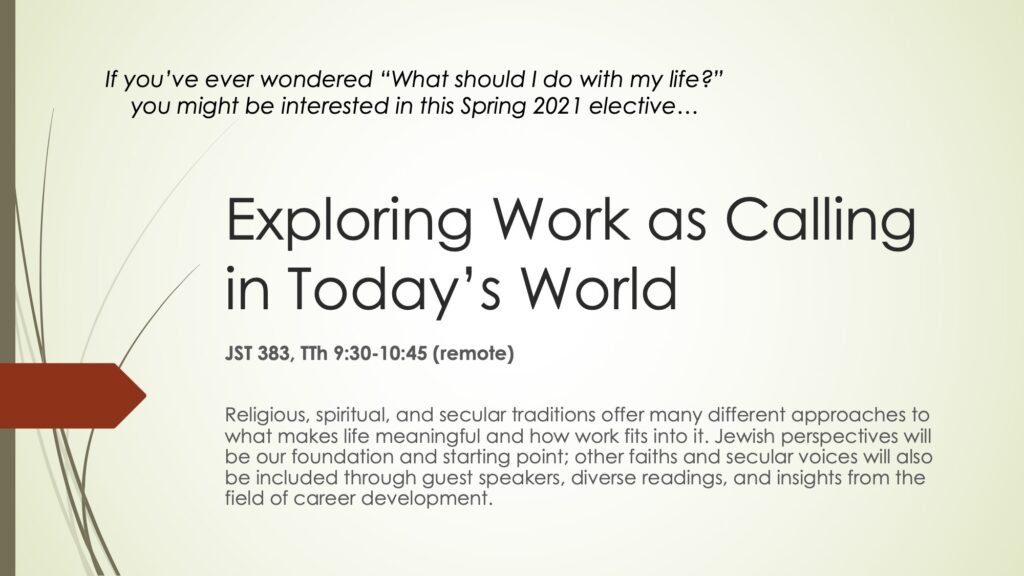 Exploring Work as Calling in Today's World