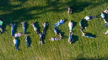 Physics students spelling out physics on the ground