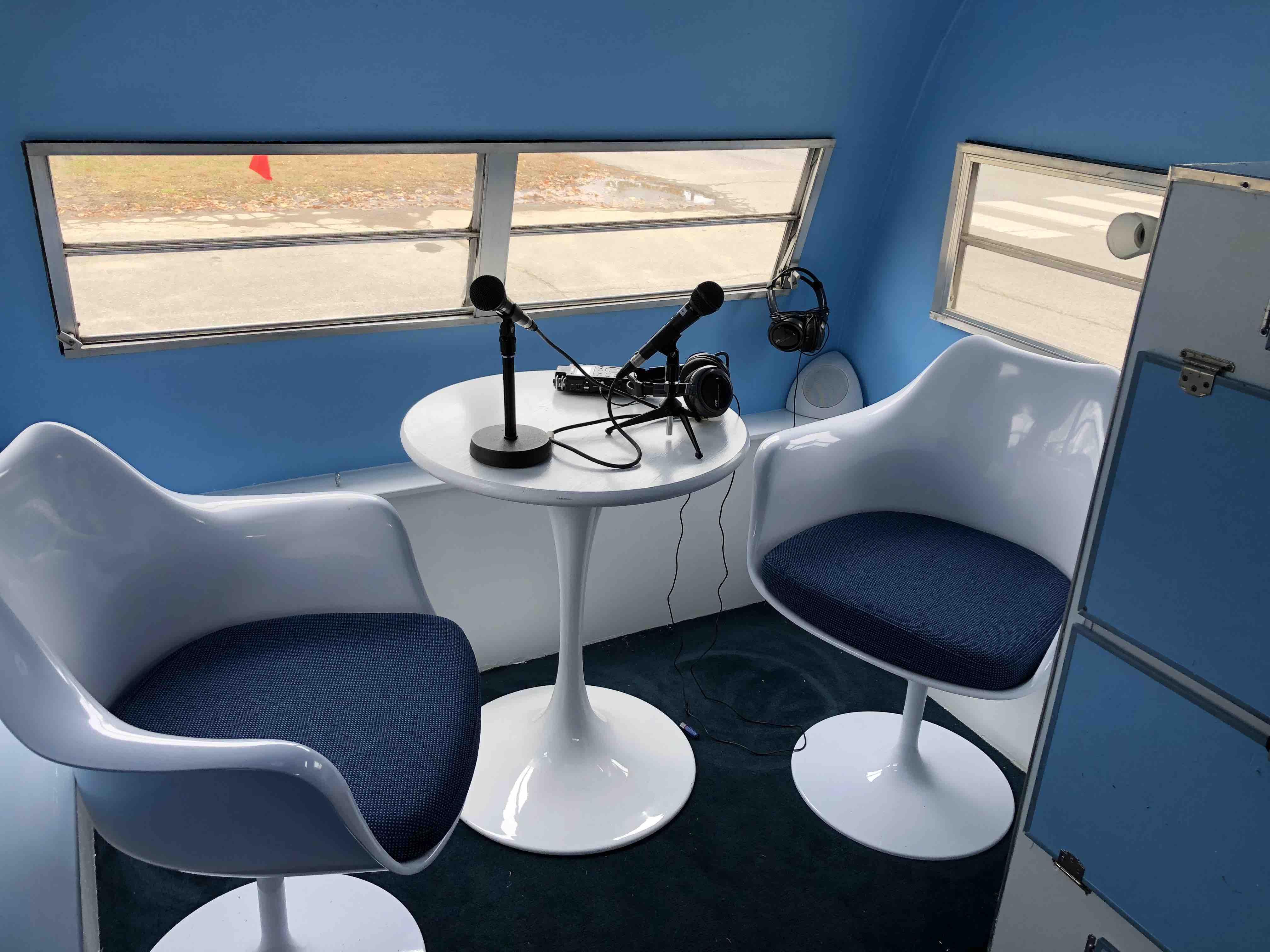 interior of a mobile recording studio