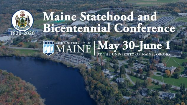 aerial image uf university of maine campus with text about the bicentennial conference superimposed