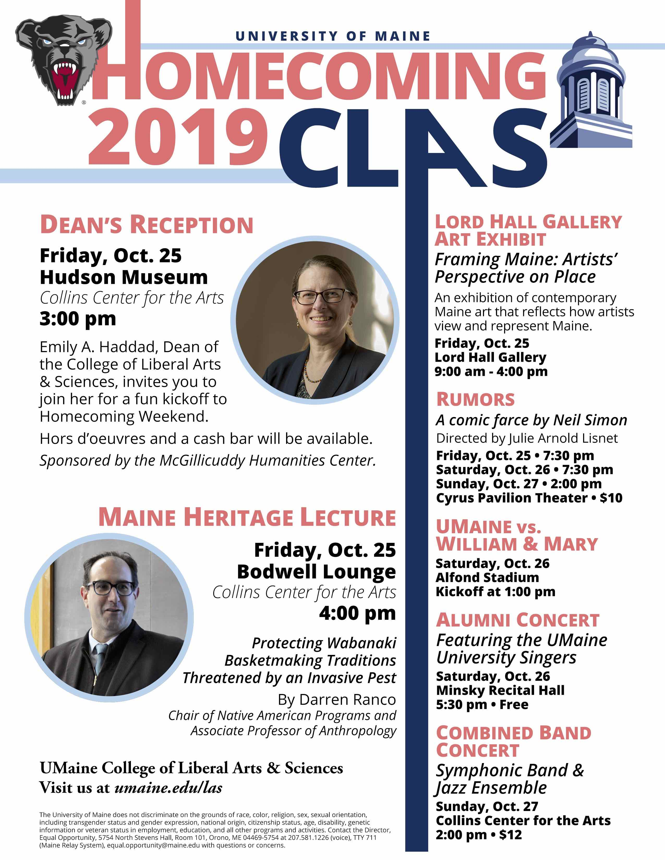 A flier detailing the CLAS 2019 Homecoming events