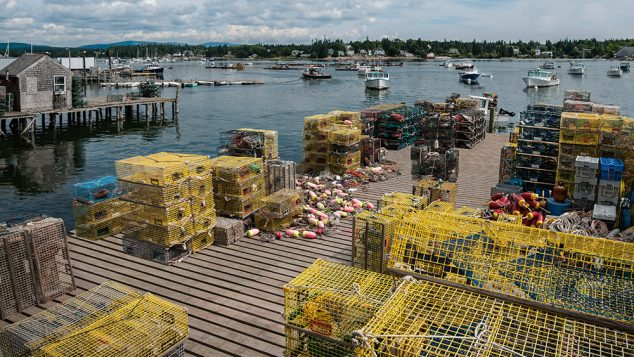 Lobster Traps on a Fishing Dock in Maine