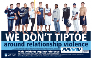 Poster message: We Don't Tiptoe around relationship violence