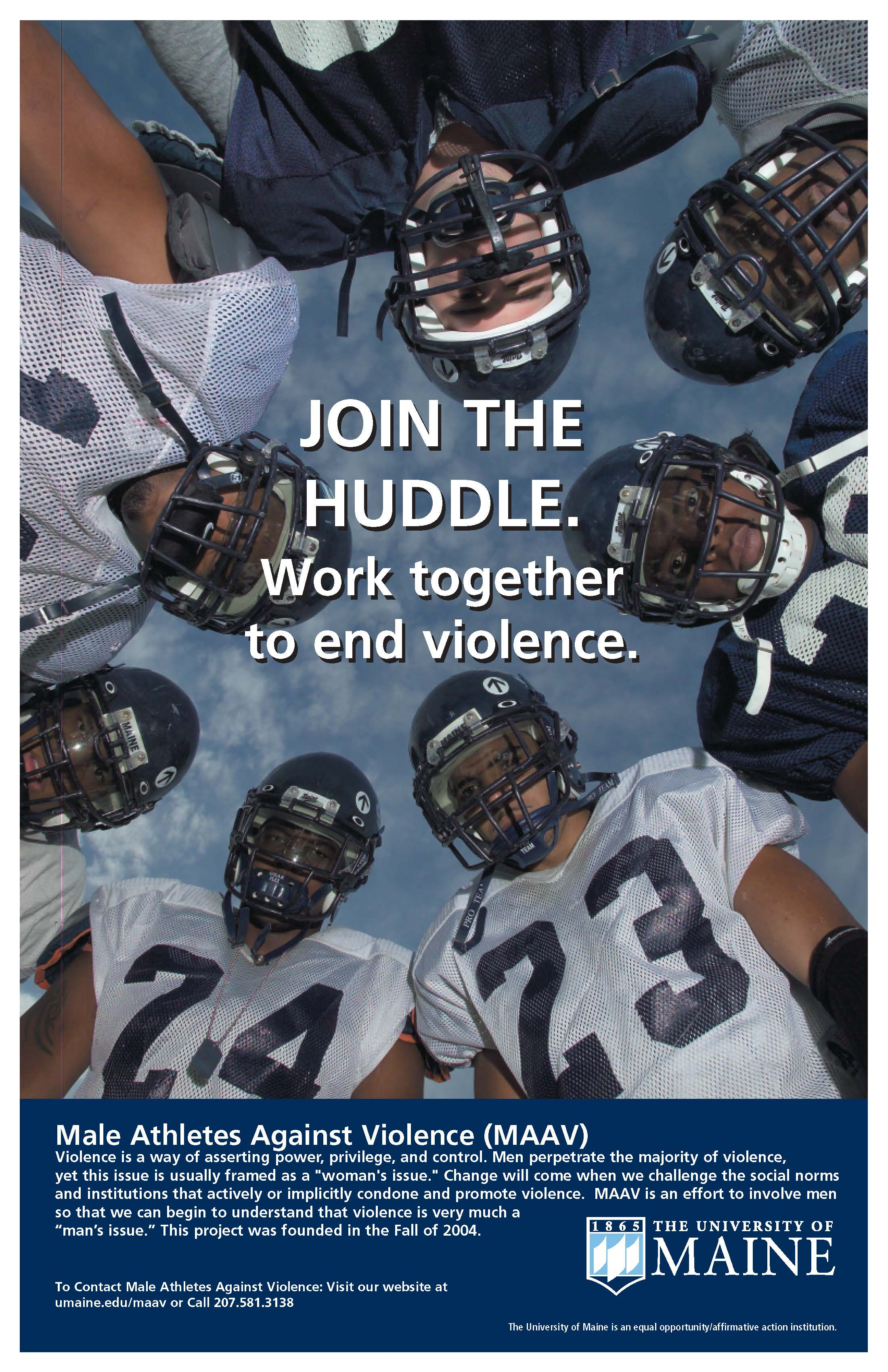 Poster: Join the Huddle. Work together to end violence.