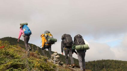 4 people backpacking