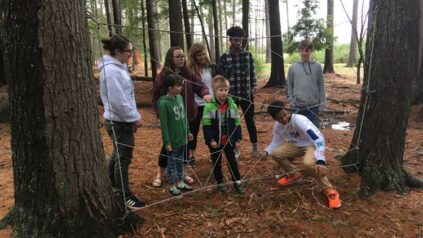 children on the low ropes course