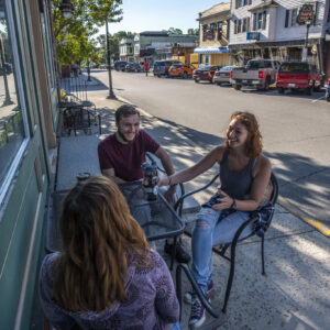 students in downtown orono