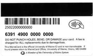 card number information on back of MaineCard including barcode