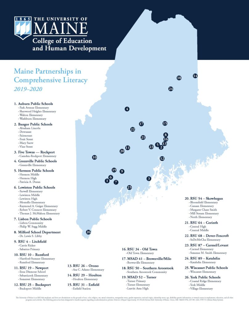 Maine Partnerships in Comprehensive Literacy Map