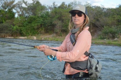 Picture of Kimberly Ovitz fishing.