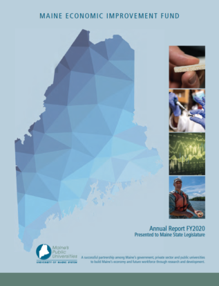 MEIF FY20 cover image featuring stylized map image of Maine, blue.