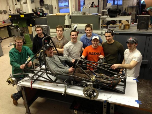 Student team testing out the frame on a project.