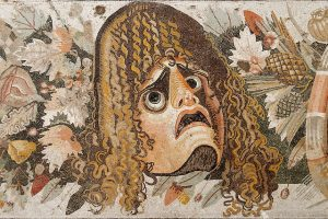Mosaic detail of a Greek theatre mask from the House of the Faun