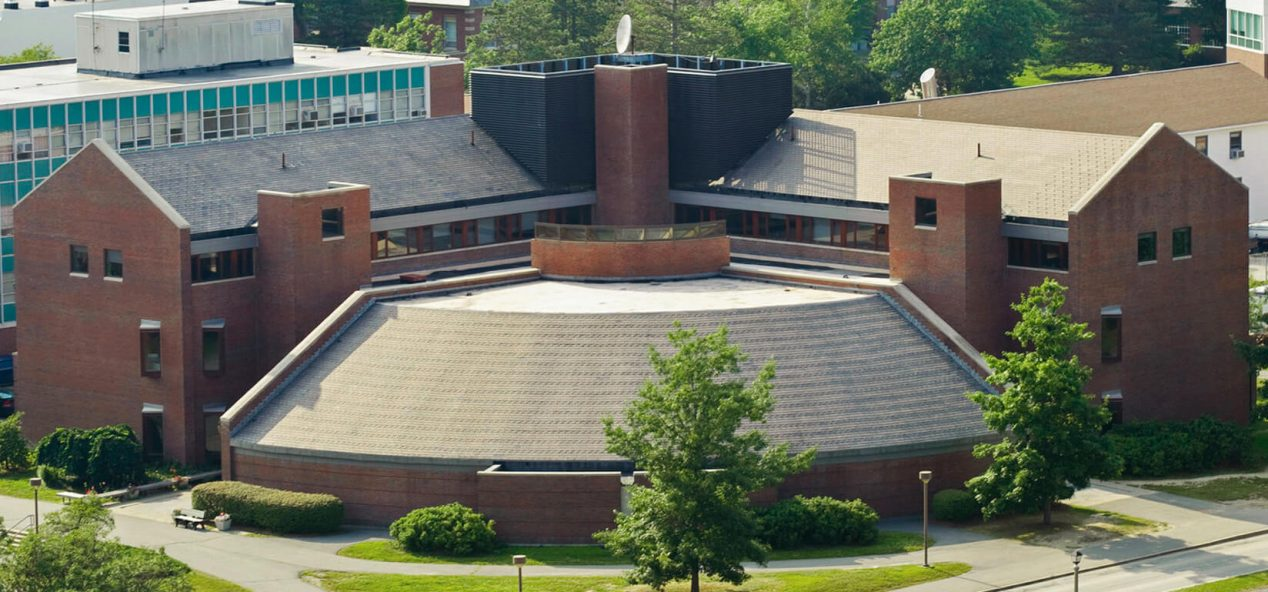 aerial view of d.p. corbett hall on umo campus