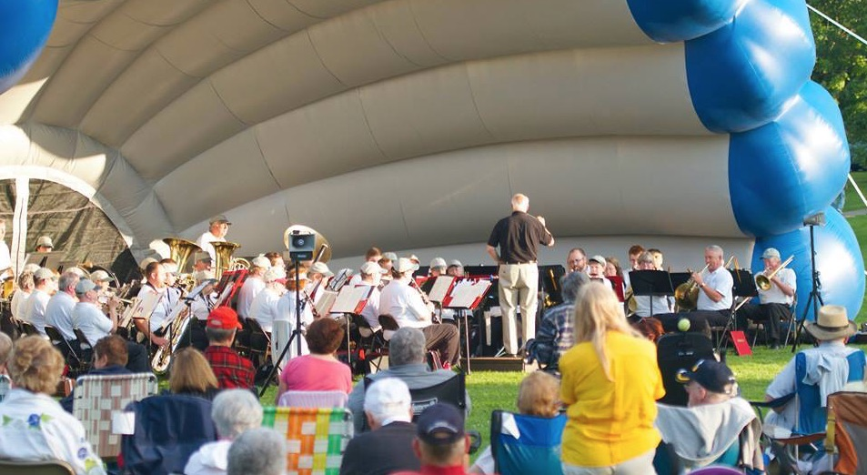 Bangor Band playing to an audience outside