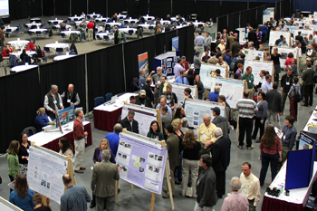 crowd in poster exhibit