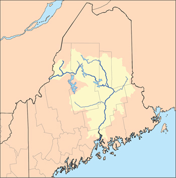 Maine map highlighting Penobscot watershed